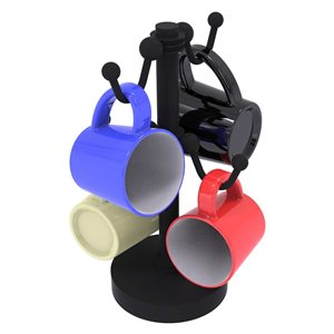Allied Brass Black Countertop Coffee Mug Holder for 4 Mugs with Dotted Details