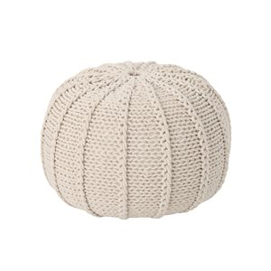 Best Selling Home Décor Corisande Knitted Cotton Pouf, Beige