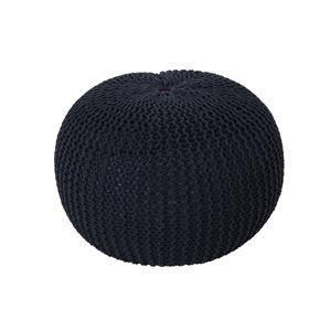 Best Selling Home Décor Abena Knitted Cotton Pouf, Dark Blue