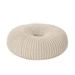 Best Selling Home Décor Everett Knitted Cotton Donut Pouf, Beige