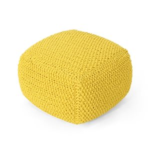 Best Selling Home Décor Hollis Knitted Cotton Square Pouf, Yellow