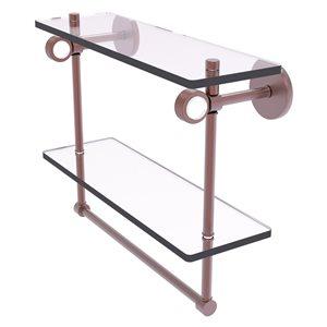 Allied Brass Clearview 16-in Antique Copper 2-Tier Glass Wall Mount Bathroom Shelf