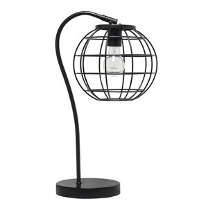 Lalia Home Studio Loft 20-in Black Incandescent On/Off Switch Standard Table Lamp with Metal Shade
