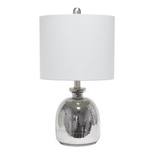 Lalia Home Classix 20-in Metallic Grey Incandescent Rotary Socket Standard Table Lamp with Grey Linen Shade