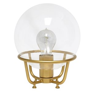 Lalia Home Studio Loft 10-in Matte Gold Incandescent On/Off Switch Standard Table Lamp with Glass Shade