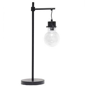 Lalia Home Barnlitt 24-in Black Incandescent On/Off Switch Standard Table Lamp with Glass Shade