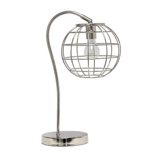 Lalia Home Studio Loft 20-in Chrome Incandescent On/Off Switch Standard Table Lamp with Metal Shade