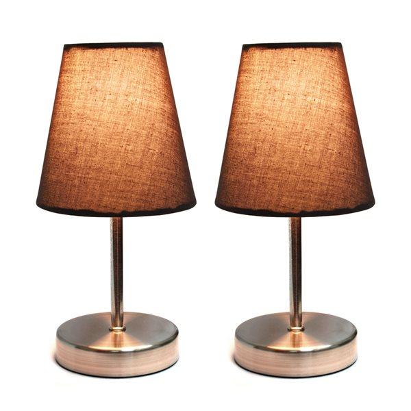 Lampe nickel sable à incandescence d'Elegant Designs 10,63 po, interrupteur marche/arrêt et abat-jour en tissu brun, ens. de 2