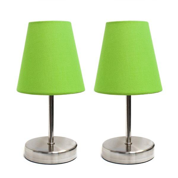 Lampe nickel sable à incandescence d'Elegant Designs 10,63 po, interrupteur marche/arrêt et abat-jour en tissu vert, ens. de 2
