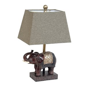Lalia Home Classix 20.5-in Brown Incandescent Rotary Socket Standard Table Lamp with Fabric Shade