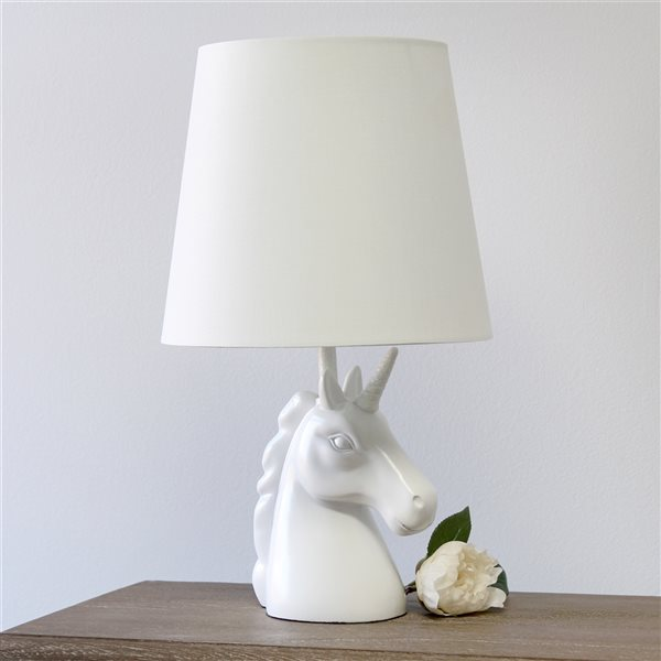 Lampe de table blanche à incandescence d'Elegant Designs de 16 po avec interrupteur marche/arrêt et abat-jour en tissu