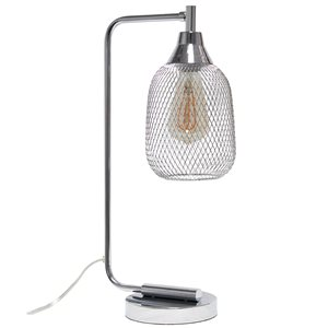 Lalia Home Studio Loft 19-in Chrome On/Off Switch Standard Desk Lamp with Metal Shade