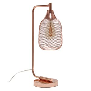 Lalia Home Studio Loft 19-in Rose Gold On/Off Switch Standard Desk Lamp with Metal Shade
