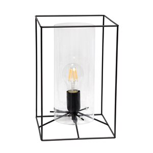 Lalia Home Studio Loft 11.8-in Black Incandescent On/Off Switch Standard Table Lamp with Clear Glass Shade