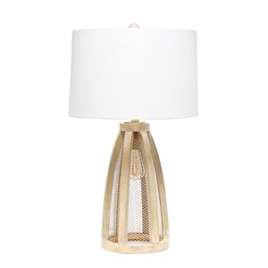 Lalia Home Barnlitt 29.5-in Natural Wood Incandescent Rotary Socket Standard Table Lamp with White Fabric Shade