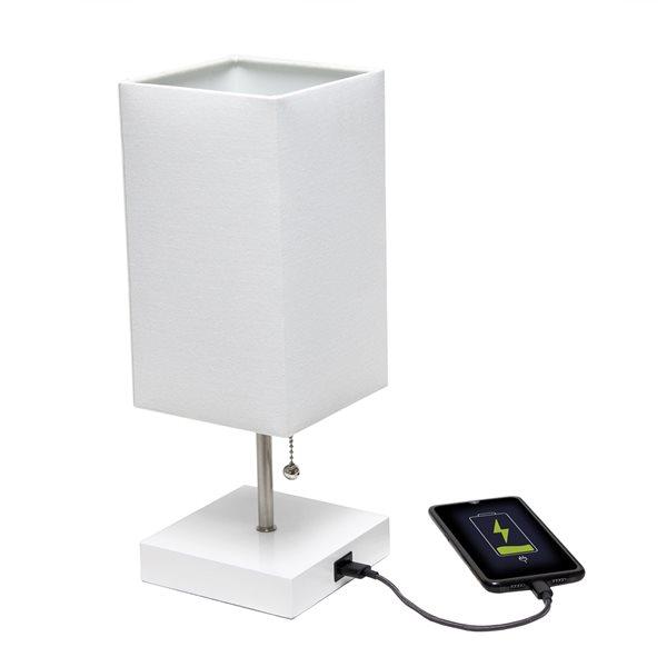 Ensemble de 2 lampes standards blanches par LimeLights avec abat-jour blanc