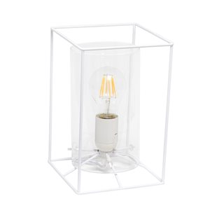 Lalia Home Studio Loft 9-in White Incandescent On/Off Switch Standard Table Lamp with Glass Shade
