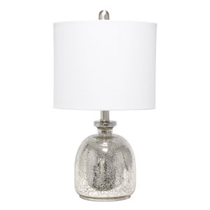 Lalia Home Classix 20-in Grey Incandescent Rotary Socket Standard Table Lamp with Fabric Shade