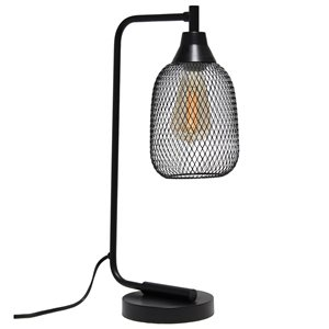 Lalia Home Studio Loft 19-in Black On/Off Switch Standard Desk Lamp with Metal Shade