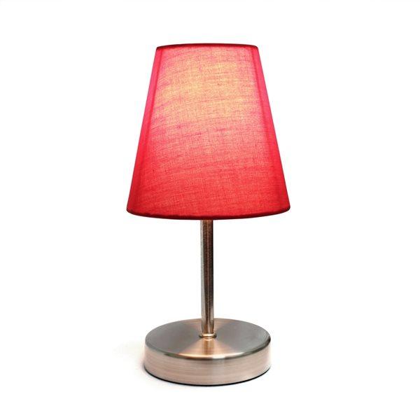 Lampe de table nickel sable à incandescence d'Elegant Designs de 10,63 po, interrupteur marche/arrêt et abat-jour en tissu rou