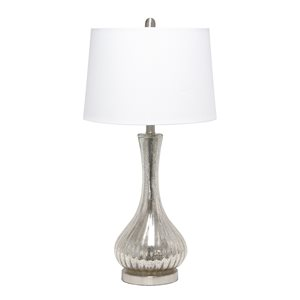 Lalia Home Classix 29-in Grey Incandescent Rotary Socket Standard Table Lamp with Fabric Shade