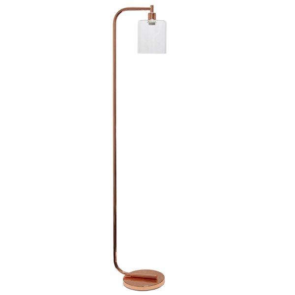 Simple Designs 13.58-in Rose Gold Standard Floor Lamp