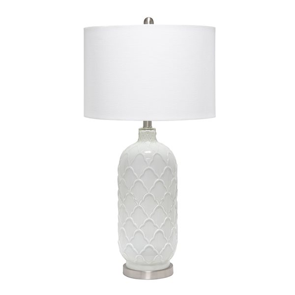 Lalia Home Classix 29.25-in White Incandescent Rotary Socket Standard Table Lamp with Fabric Shade