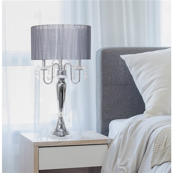 Elegant Designs 31-in Chrome Incandescent Rotary Socket Standard Table Lamp with Grey Fabric Shade