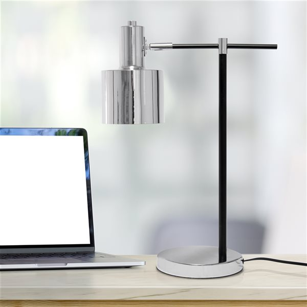 Lalia Home Studio Loft 21-in Chrome Incandescent On/Off Switch Standard Table Lamp with Metal Shade