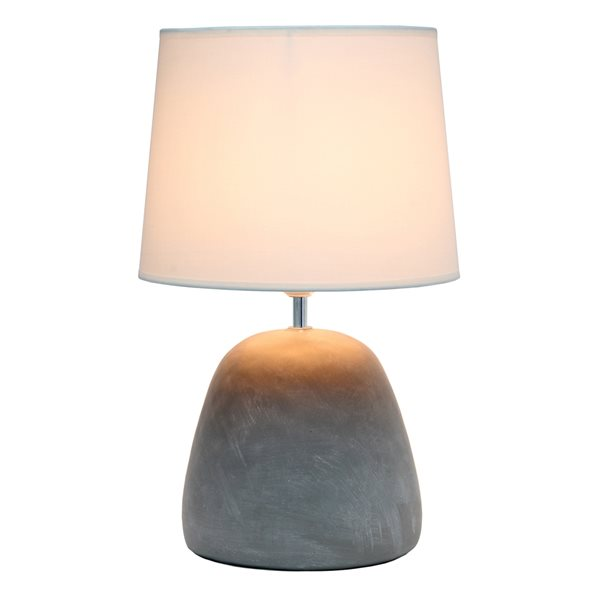 Simple Designs 16.5-in Incandescent On/Off Switch Standard Table Lamp with White Fabric Shade