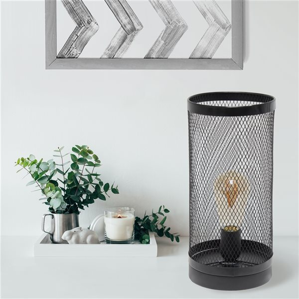 Simple Designs 12.75-in Black Incandescent On/Off Switch Standard Table Lamp with Metal Shade