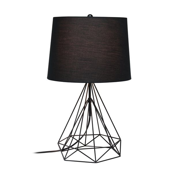 Lalia Home Studio Loft 23.5-in Black Matte Incandescent Rotary Socket Standard Table Lamp with Fabric Shade