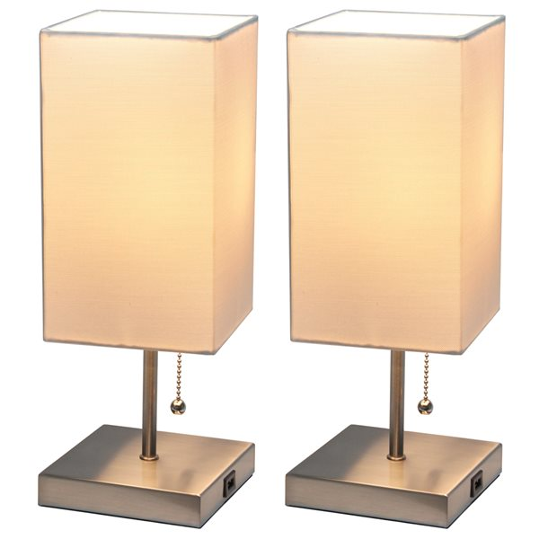 LimeLights Brushed Nickel Standard Lamp with White Shade (Set of 2)