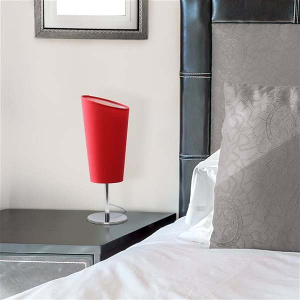 Simple Designs 12.6-in Incandescent On/Off Switch Standard Table Lamp with Red Fabric Shade