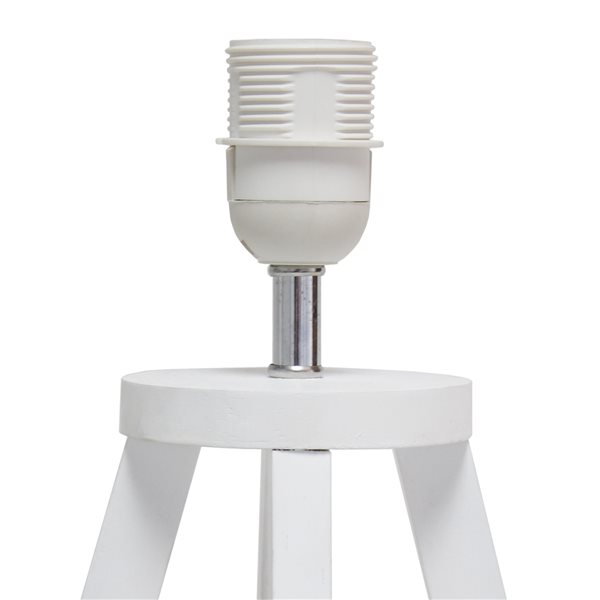 Simple Designs 19.13-in White Incandescent On/Off Switch Standard Table Lamp with Grey Fabric Shade