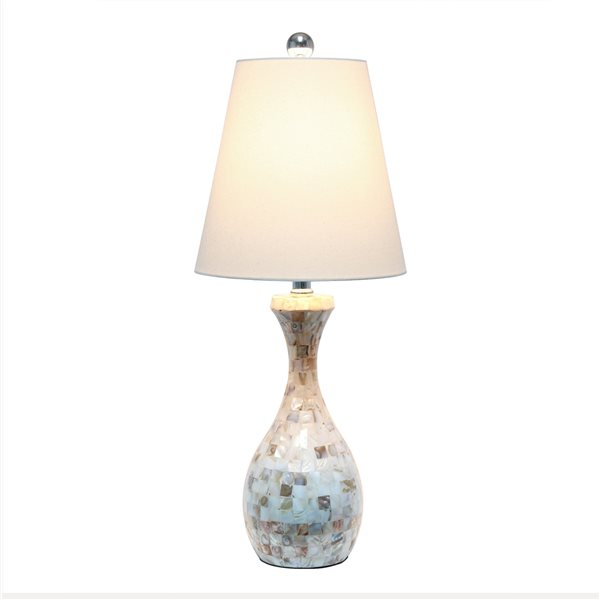 Lalia Home 25-in Incandescent Rotary Socket Standard Table Lamp with White Fabric Shade