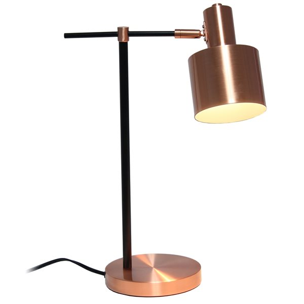 Lalia Home Studio Loft 21-in Rose Gold Incandescent On/Off Switch Standard Table Lamp with Metal Shade