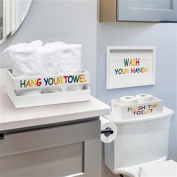 Elegant Designs Kids Whitewash Finish on Wood Large Bath Accessory Set