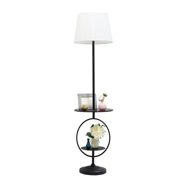 Lampe sur pied avec étagère par Elegant Designs noire de 15,7 po