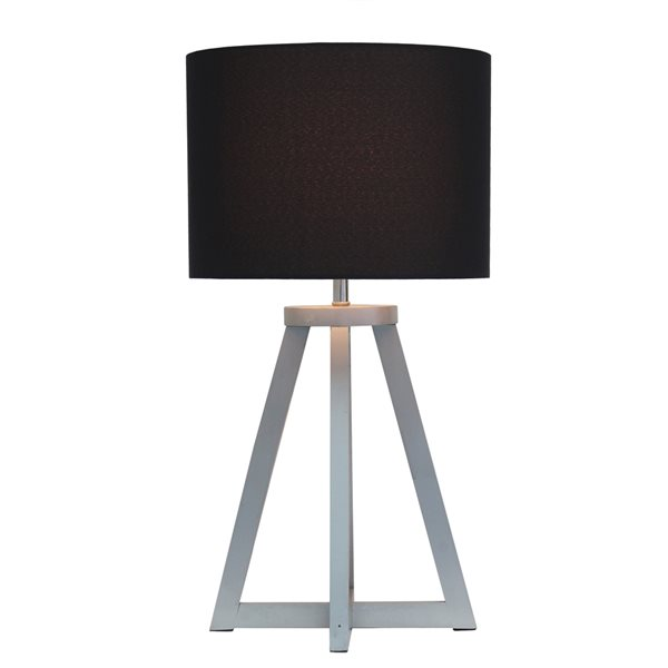 Simple Designs 19.13-in Grey Incandescent On/Off Switch Standard Table Lamp with Black Fabric Shade