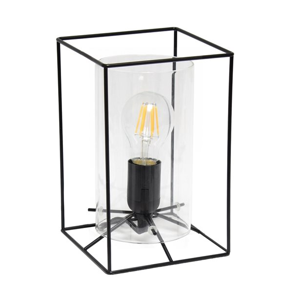 Lalia Home Studio Loft 9-in Black Incandescent On/Off Switch Standard Table Lamp with Clear Glass Shade