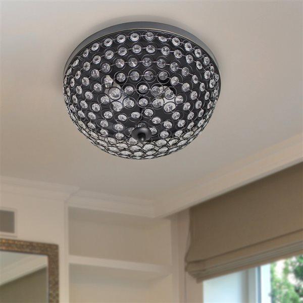 Elegant Designs Elipse Crystal 13-in Restoration Bronze Contemporary/Modern Incandescent Flush Mount Light - 2-Pack