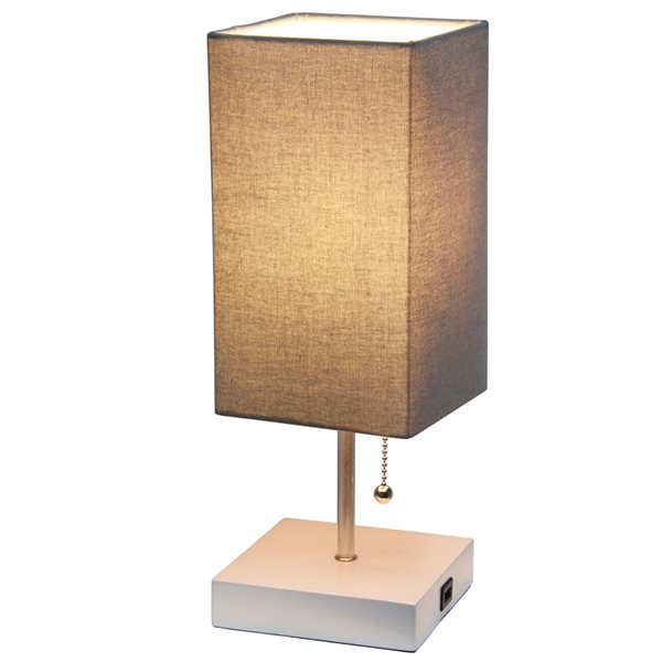 Simple Designs 14.25-in White Incandescent Pull-Chain Standard Table Lamp with Grey Fabric Shade