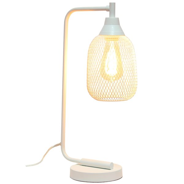 Lalia Home Studio Loft 19-in White On/Off Switch Standard Desk Lamp with Metal Shade