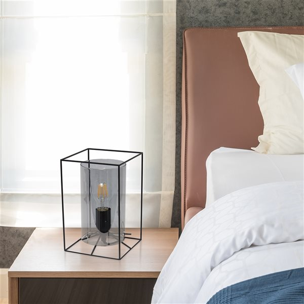Lalia Home Studio Loft 9-in Black Incandescent On/Off Switch Standard Table Lamp with Smoked Glass Shade