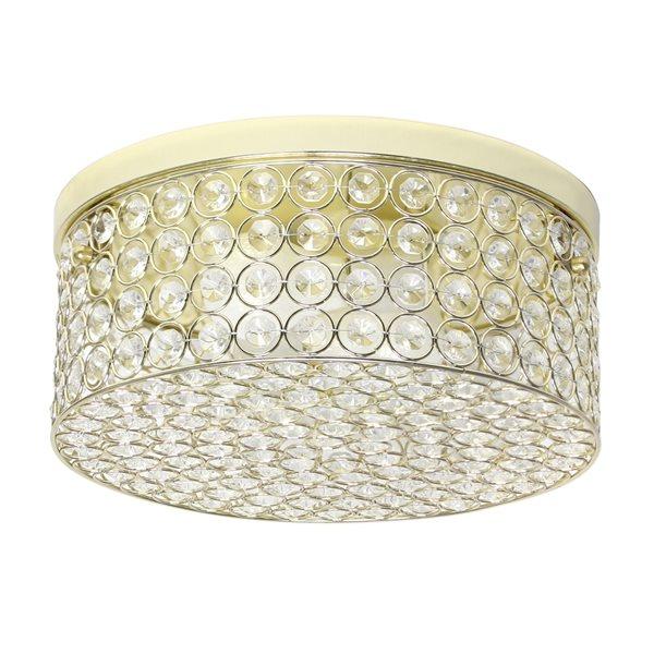 Plafonnier encastré moderne/contemporain de 12po Elipse Crystal par Elegant Designs à ampoule à incandescence, or