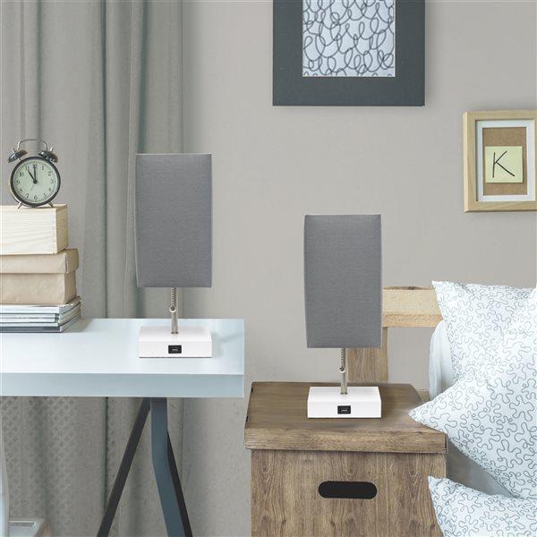 Ensemble de 2 lampes standards blanches par LimeLights avec abat-jour gris