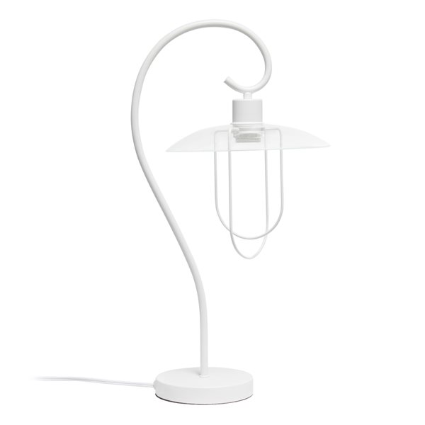 Lalia Home Studio Loft 22.2-in White Incandescent On/Off Switch Standard Table Lamp with Glass Shade