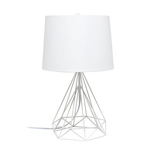Lalia Home Studio Loft 23.5-in White Matte Incandescent Rotary Socket Standard Table Lamp with Fabric Shade