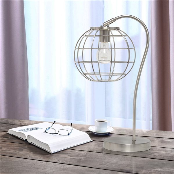 Lalia Home Studio Loft 20-in Brushed Nickel Incandescent On/Off Switch Standard Table Lamp with Metal Shade